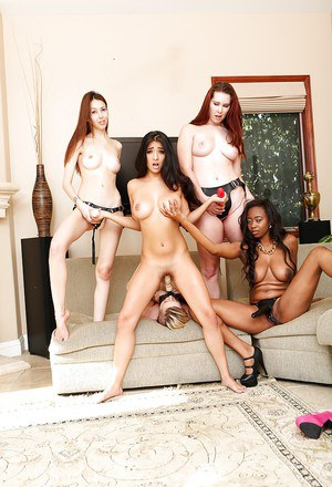Stunning gal has some fetish lesbian fun witth her friends at the house party