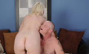 Fatty mature slut with round boobs gets nailed and jizzed over her ass