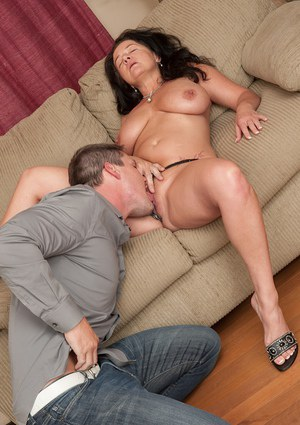 Top-heavy brunette mom gets shafted tough for cum on her rack