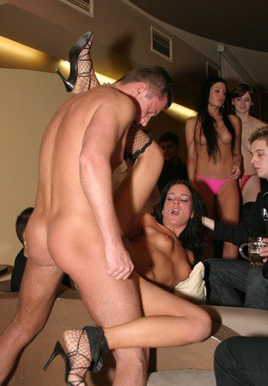 Salacious chicks enjoy a fervent groupsex party with hung lads