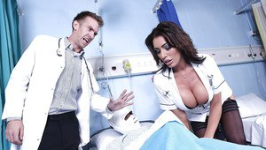 Incredibly sexy nurse fucks a horny doctor and takes cum on her big tits