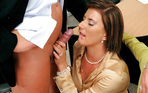 Jizz-starving MILFs enjoy partly clothed groupsex with a big cock guy