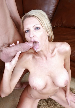Lusty mature teacher with round jugs fucks a thick cock and tastes some cum