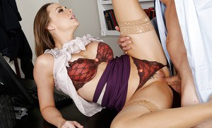 Luscious office slut in nylons gets nailed for jizz on her tongue and rack