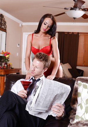 Well-stacked hottie in red stockings seduces and fucks a married guy