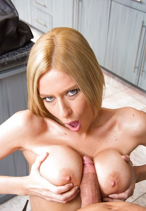 Slender blondie with big round tits seduces and fucks her hung neighbor