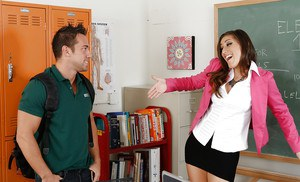 Luscious teacher in stockings gets shagged hard up against the chalkboard