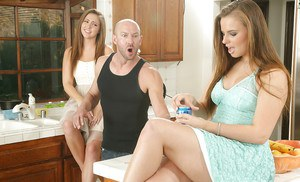 Luscious young sweeties have a threesome with hung lad in the kitchen
