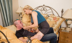 Big busted blonde cougar seduces and fucks a younger hung lad