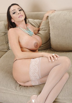 Top-heavy latina MILF in nylon undressing and teasing her love holes