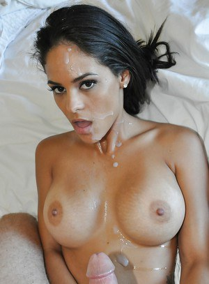 Busty latina doxy with shaved slit blows and fucks a thick dick for a facial