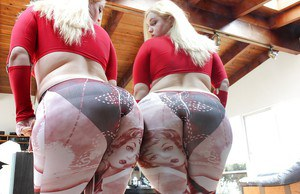 Fatty blonde lassie in leggings revealing her huge ass and inviting holes