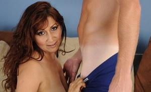 Chubby mature slut seduces a younger lad to feed her hungry shaved pussy