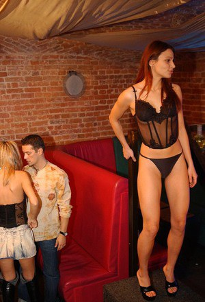 Lustful girls have some straight and lesbian dirty fun at the groupsex party