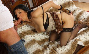 Chubby slutty mom in nylons gets fucked and milks a boner with her hands