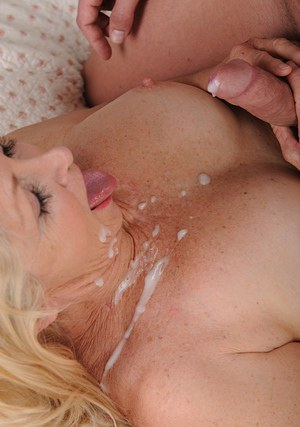 Salacious mature vixen gets shagged hard for cum on her face and rack