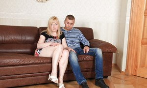 Chubby blonde with saggy tits and hairy vag gives head and gets shagged tough