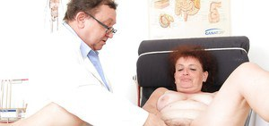 Fatty granny with unshaven cunt gets examed by a dirty-minded gyno