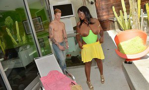 Buxom ebony lassie with huge melons and shaved cunt fucks a white boner