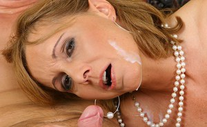 Lewd MILF gets her trimmed pussy licked and drilled tough for a facial cumshot