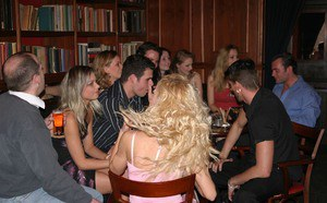 Lecherous girls get involved into wild groupsex at the dinner party