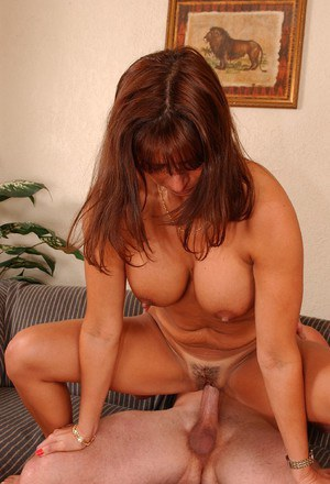 Sultry MILF with trimmed pussy gets shagged and milks boner with her big tits