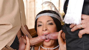 Glamorous slut has some DP fun for jizz on her face and gorgeous jugs