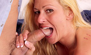 Top-heavy blonde cougar gets her shaved pussy licked and shafted tough