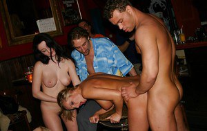 Drunk chicks getting feverishly pounded at the wild groupsex party