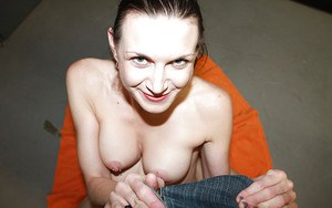 Skillful brunette MILF with pierced nipple gives an oily handjob