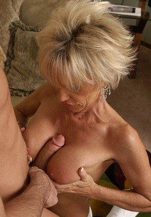 Lecherous mature lassie blows and fucks a young cock for cum in her mouth