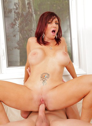 Twatty redhead cougar gets pounded tough for cum on her tongue and tits