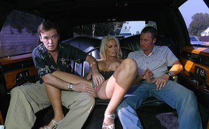 Slutty european MILF serves two stiff dicks on the back seat