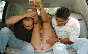 Lusty MILF gets involved into threesome with horny hung lads