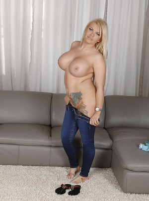 Curvaceous blonde amateur with huge jugs undressing and exposing her vag