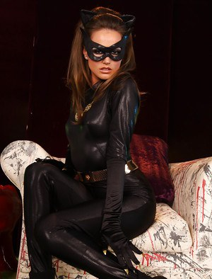Immensely tempting chick in Cat woman cosplay suit revealing her goods