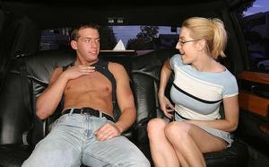 Lecherous MILF in glasses gets tricked into blowjob in the car
