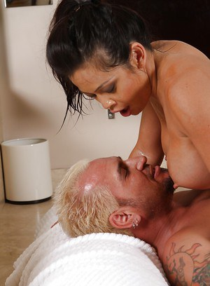 Juggy asian vixen gives an oily massage and gets fucked for cum on her belly