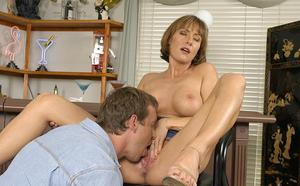 Graceful MILF with nice tits gives a deepthroat blowjob and gets nailed tough