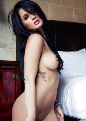 Loveable brunette with flawless boobies and fanny posing naked