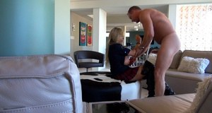 Twatty housewife in thigh boots gets fucked and takes cum on her jugs