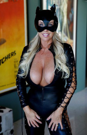 Frisky MILF in hot cosplay outfit revealing her pussy and huge tits