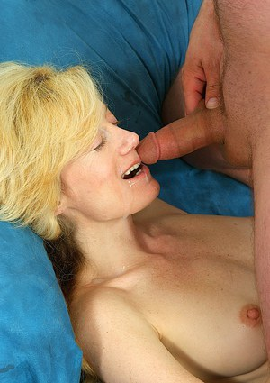 Slutty mature blonde in nylons gets fucked tough and facialized