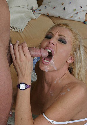 Busty blonde MILF gets fucked for a creamy cumshot on her face and tongue