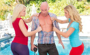 Steaming hot blondes enjoy a fervent CFNM threesome with a hung lad