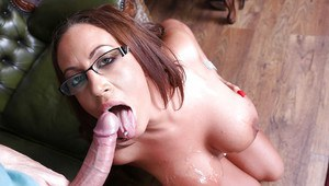 Top-heavy nurse in glasses gets her shaved love holes drilled hardcore