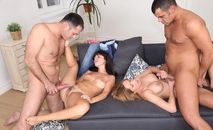 Steaming hot european vixens enjoy a fervent foursome and get glazed with cum