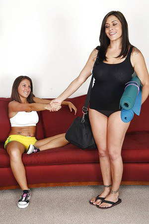 Naughty chick has some lesbian fun with her mature yoga trainer