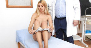 Fuckable blonde in nylons gets involved into fetish gyno exam action