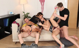 Jizz-starving european sugars have a passionate foursome with hung guys